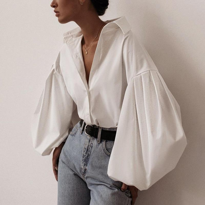 Lantern Sleeve Elegant Shirt White Black Sexy Button Vintage Blouse Turn Down Collar Office Ladies Shirt
