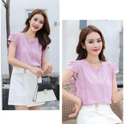 Korean Fashion Clothing Plus Size Solid Shirt Women Blouse Summer Womens Tops and Blouses Lace Patchwork Blusas