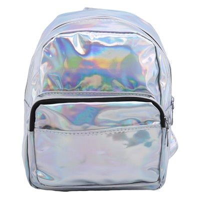 Mini Laser Backpacks for Women Silver Fashion Laser Backpack Youth Bag Teenage Girls Female Korean Trend Personality School Bag