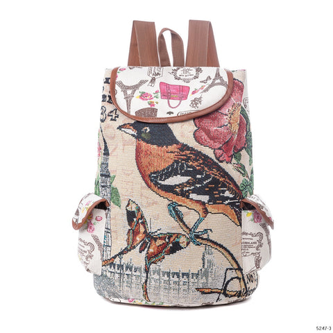 Cute Cat Backpack Women Canvas Backpack Drawstring Printing Backpacks For Teenage Girls Large Capacity School Bag