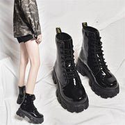 Black Leather Round Toe Lace-up Chunky Heel Boots