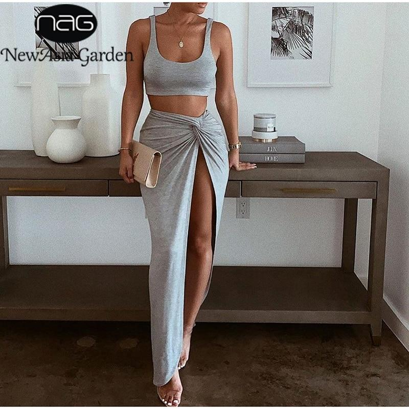 Sexy Party 2 Piece Set Women Plus Size Crop Top Twist Side Split Long Skirts Matching Sets Club Two Piece Outfits