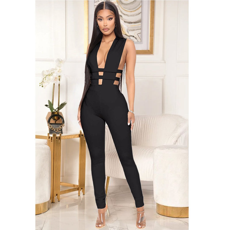 Pure Color Straps Hollow Out Long Slim Jumpsuit
