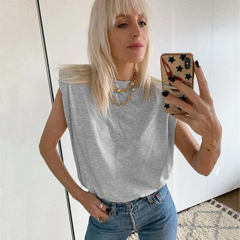 Sleeveless Top Female O Neck White Women Blouse Shirt Ladies Loose Solid Chic Casual Blouses