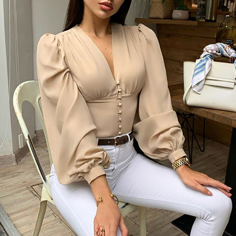 Ladies Elegant Blouse Lantern Long Sleeve Tops Summer V Neck Crop Top Fashion Shirts Women Button Down Blouses New Clothing