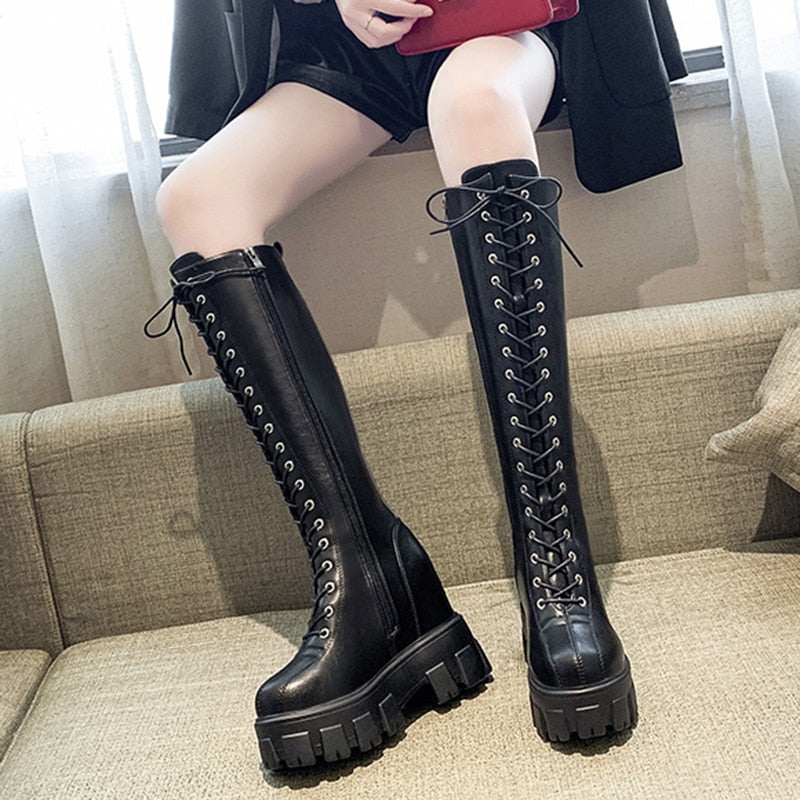Retro Leather Knee High Platform Boots