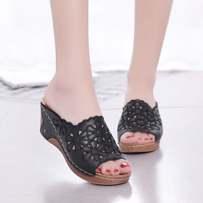 Leather Hollow Out Peep Toe Slippers