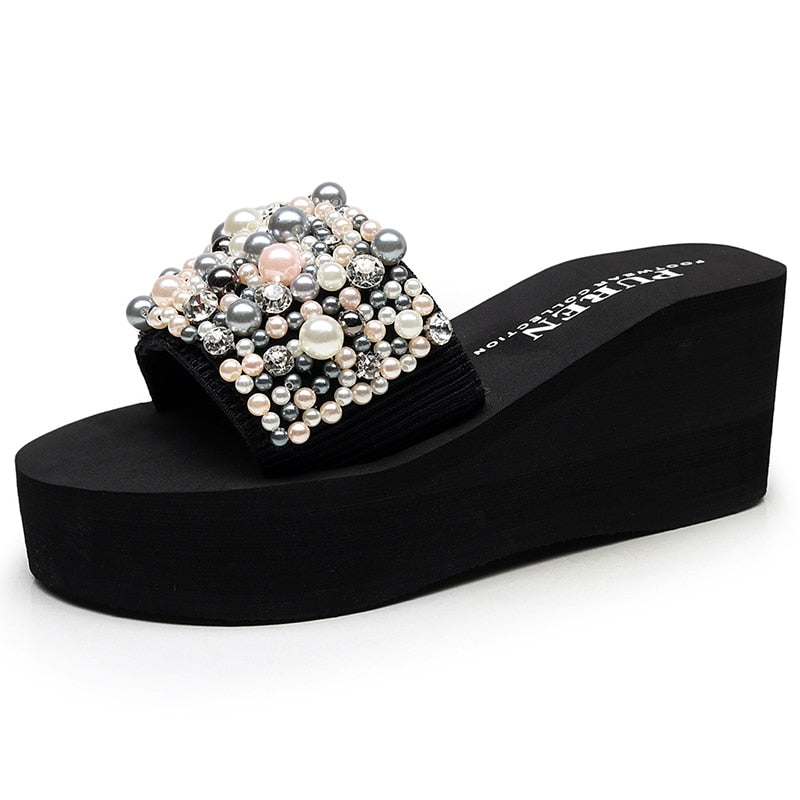 Black Crystal Handmade Pearl Wedge Slippers