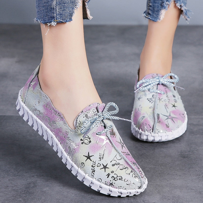 Lace Up Sequin Loafers Flats