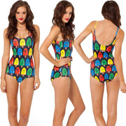 Print Big Scoop Underwear Monokini Bikini - Bags in Cart - 7