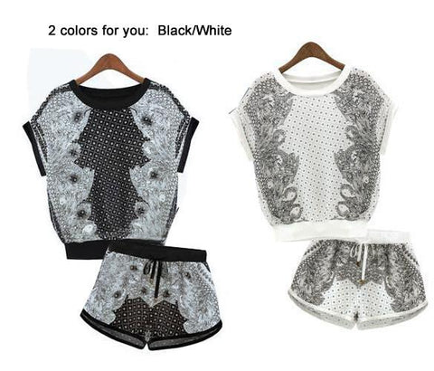 Print T-shirt Shorts Playsuit Activewear Two Pieces Suit - Bags in Cart - 5