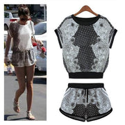 Print T-shirt Shorts Playsuit Activewear Two Pieces Suit - Bags in Cart - 1