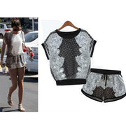Print T-shirt Shorts Playsuit Activewear Two Pieces Suit - Bags in Cart - 2