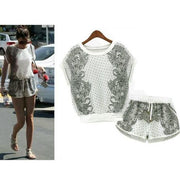 Print T-shirt Shorts Playsuit Activewear Two Pieces Suit - Bags in Cart - 4