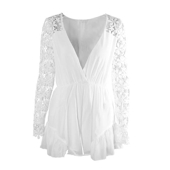 V-neck Long Sleeves Lace Chiffon Short Jumpsuits - MeetYoursFashion - 4