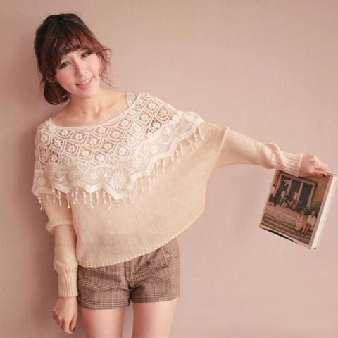 Mesh Hollow Crochet Lace Knit Shawl Cape Shawl Tank Top Vest - Bags in Cart - 3