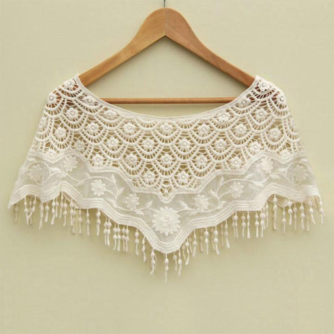 Mesh Hollow Crochet Lace Knit Shawl Cape Shawl Tank Top Vest - Bags in Cart - 1