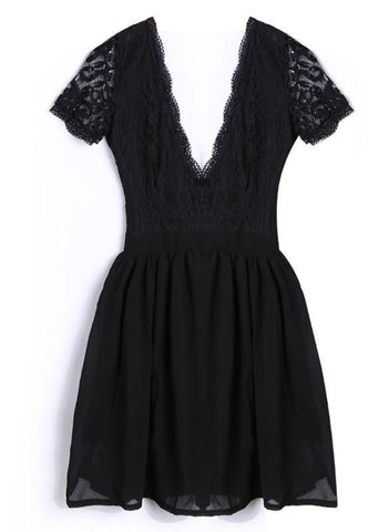 Deep V-neck V-back Backless Lace Little Black Dress - Shoes-Party - 6