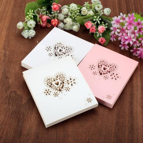 50pcs Hot Fashion Beautiful Heart Shape Hollow Wedding Party Decor Table Name Place Cards