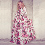 Women Casual Floral Printed Long Sleeve Long Dress - Shoes-Party - 1