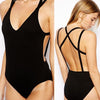 V-neck Cross Back One Piece Bathing Monokini Swimwear - MeetYoursFashion - 1