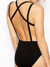 V-neck Cross Back One Piece Bathing Monokini Swimwear - MeetYoursFashion - 4