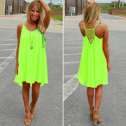 Women Sexy Casual Chiffon Sleeveless Back Hollow Solid A Line Short Dress - Shoes-Party - 1