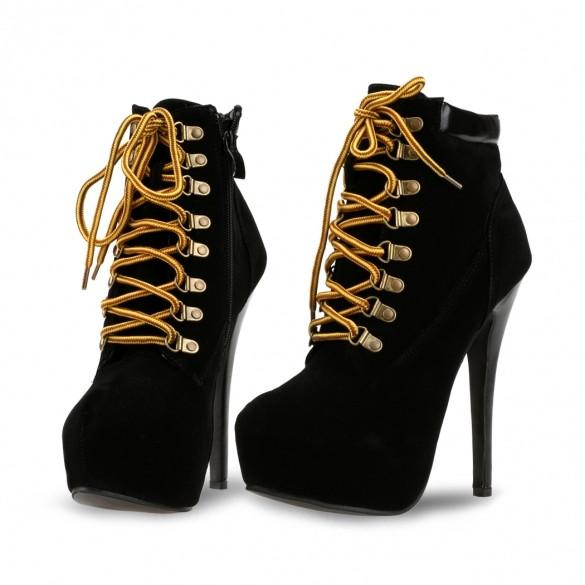 Fashion Women Lady Casual Pointed Toe Shoes 5.7 Inch High Heels Sexy Lace Up Side Zipper Ankle Bootie Solid Boots