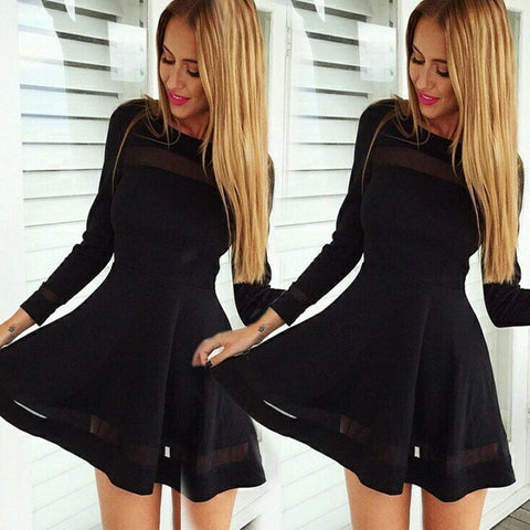 Stylish Women Sexy Long Sleeve High Waist Casual Patchwork Mini Pleated Dress - Shoes-Party - 3