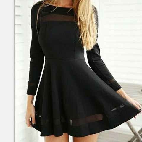 Stylish Women Sexy Long Sleeve High Waist Casual Patchwork Mini Pleated Dress - Shoes-Party - 4