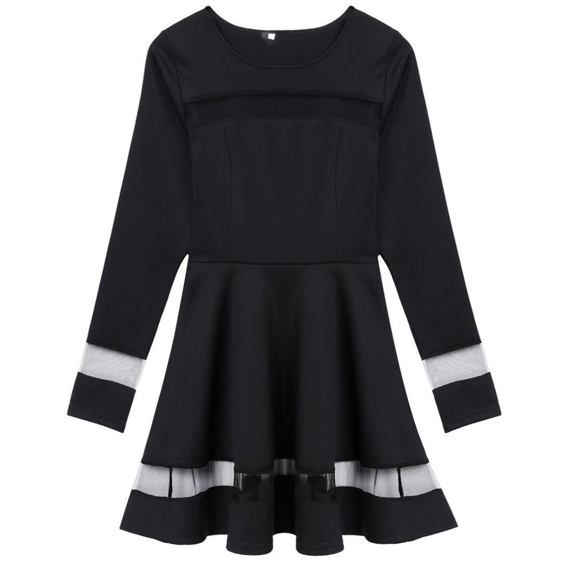 Stylish Women Sexy Long Sleeve High Waist Casual Patchwork Mini Pleated Dress - Shoes-Party - 5