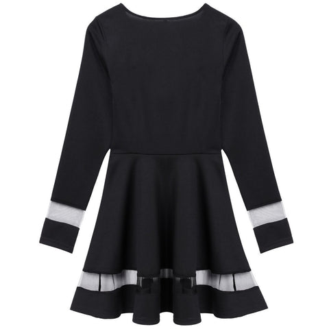 Stylish Women Sexy Long Sleeve High Waist Casual Patchwork Mini Pleated Dress - Shoes-Party - 6