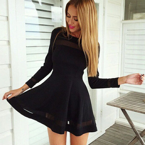 Stylish Women Sexy Long Sleeve High Waist Casual Patchwork Mini Pleated Dress - Shoes-Party - 1