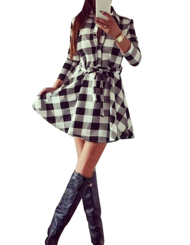 Ladies Plaid Belt Shirt Dress Lapel Button Dress - Shoes-Party - 3