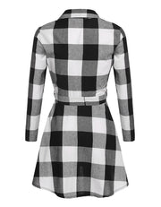 Ladies Plaid Belt Shirt Dress Lapel Button Dress - Shoes-Party - 6