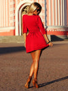 3/4 Sleeves Pleated A-line Short Skater Dress - MeetYoursFashion - 11