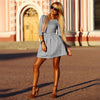 3/4 Sleeves Pleated A-line Short Skater Dress - MeetYoursFashion - 4