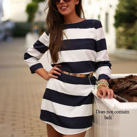 Women long Sleeves Stripe Straight Shift Dress - Shoes-Party - 1