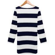 Women long Sleeves Stripe Straight Shift Dress - Shoes-Party - 4