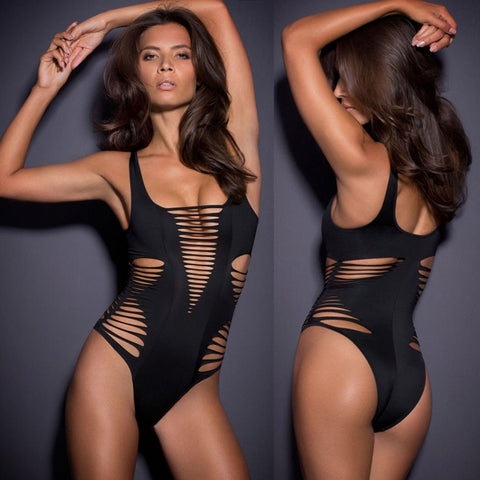 Hollow Out Bandage Straps One Piece Swimwear Monokini - Bags in Cart - 4