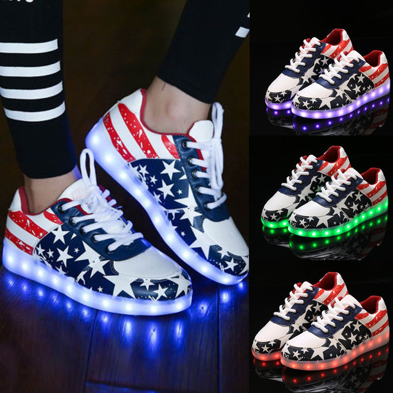 Fashion Unisex Lace Up LED Light Luminous Shoes Sportswear Sneaker Casual Shoes - MeetYoursFashion - 1
