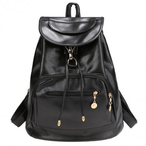 Women Backpack Vintage Style Solid School Soft Rucksack Bags - Oh Yours Fashion - 2