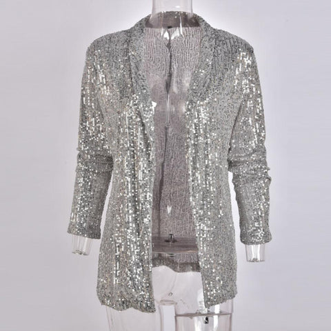 Sequins Long Sleeved Blazers Fashion Women Shiny Party Blazer Coat Silver Casual Long Sleeve Blazer Jacket