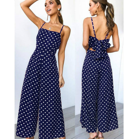Wide Leg Polka Dotted Backless Jumpsuits