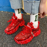 Sequin Lace Up Height Increasing Chunky Sneakers
