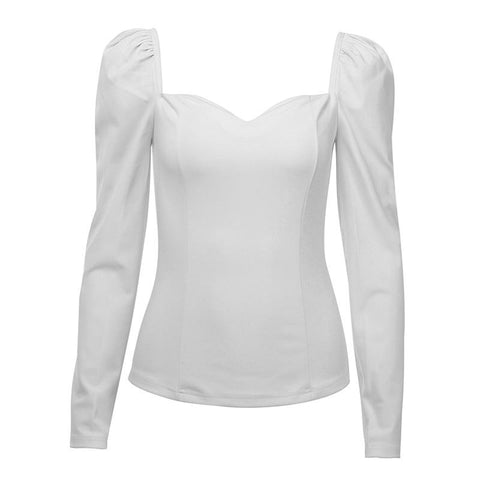 Special Offer Hot Sale Autumn Solid Color Vintage New Women Shirts Puff Sleeve Square Sexy Small V-Neck Slim Blouse