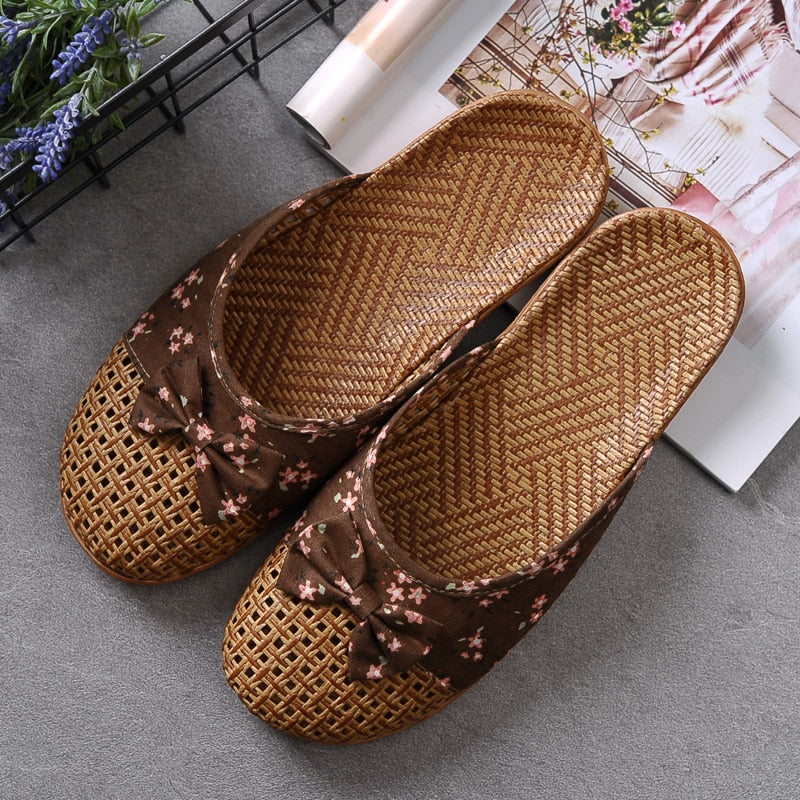 Cute Bow Weaving Breathable Cutout Slippers
