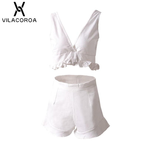 Summer Women's 2 Piece White V-neck Tube Top Short Set Ruffled Top + Elastic Waist Ruffled Straight Shorts Women's 2 Piece Set