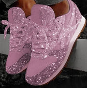 Rhinestone Lace Up Sneakers Flats