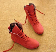 Winter Solid Color Lace Up Flat Short Boots with Cotton
